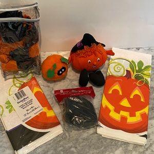 Halloween Decor pumpkin table cloth streamers